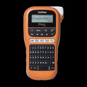 BROTHER Címkenyomtató PT-E110, ipari (kézi), 20mm/mp, QWERTY billentyűzet, TZe/HGe szalag 12mm-ig, LCD kijelző